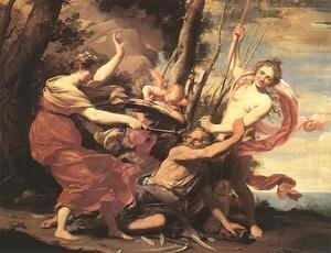 Simon Vouet - Father Time Overcome by Love, Hope and Beauty 1627