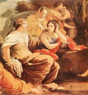 Simon Vouet - Parnassus or Apollo and the Muses (detail-2) c. 1640