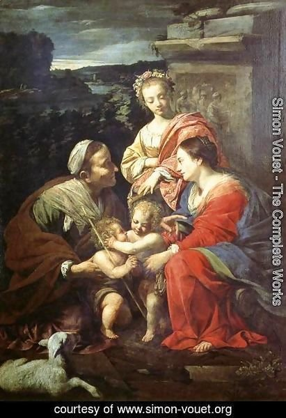 Simon Vouet - The Holy Family with Sts Elizabeth, John the Baptist and Catherine