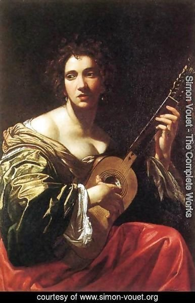 Simon Vouet - Woman Playing the Guitar