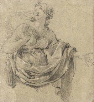 Simon Vouet - A woman looking up to the left, three-quarter-length