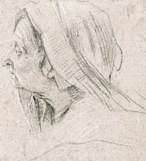 The head of an old woman, veiled, in profile to the right